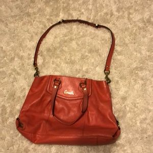 Coral Coach bag with removable shoulder strap